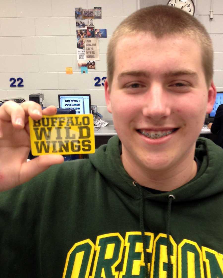 Austin Kunis (10) won a $30 gift card to BW3's.