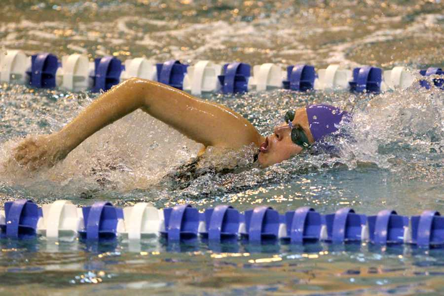 Lesley Payonk ('09) swims the 200 Freestyle race. Payonk decided to challenge herself by entering distance races.