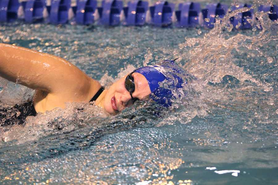 Elizabeth Markiewicz ('13) swims in her freestyle race. Though Markiewicz is a recent graduate, she still swam in the meet.