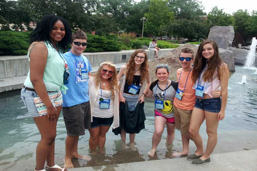 "Raquel Rembert (11), Aidan McCambridge (12), Paige Kruk ('14), Nichole Heusmann (11), Brandilyn Stockton-Fresso (12), Adam Gustas (10), and Lauren Granskog (11) on campus at the University of Lincoln Nebraska for the International Thespian Conference. After practicing ""Drum Taps"" for nine months, this was the first group from Lake Central to perform at an international level."