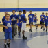 Boys participating in wrestling camp run laps at the beginning of practice. The camp lasted 4 days.