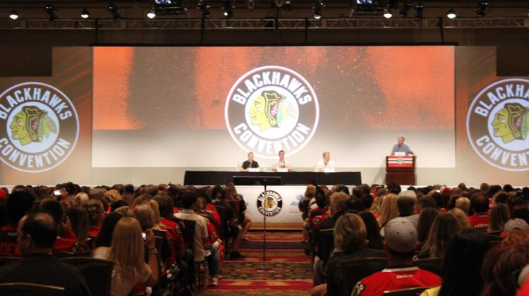 Three Chicago Blackhawks players answer questions from adoring fans. The seventh annual Blackhawks convention was held in Chicago on the weekend of July 18th.