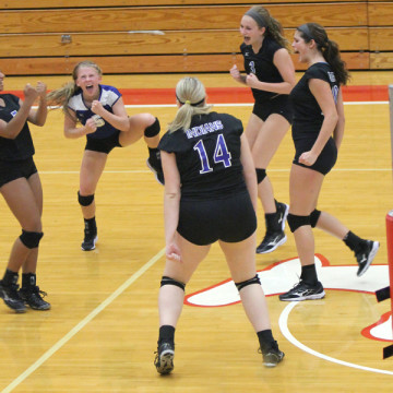 The players cheer after they win a point. The Indians took control of the match in the third and fourth sets to take the match to five sets.