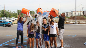 Ice Water gets dumped down the Lady Indians' backs. The completed the ALS ice bucket challenge on Friday, Aug. 22 after school.