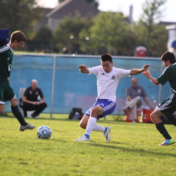 Bernardo Oseguera (11) fights for the ball. The Indians played Valparaiso for the DAC championship, and the Indians won.