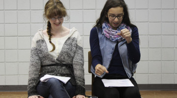 Rachel Kozel (10) and Mia Flory (9) practice their duet acting scene.  The scene revolved around the bonding of a goofy driver's ed teacher and serious sixteen-year-old girl.