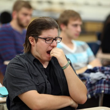 Student falls asleep during class.  Students at Lake Central find it difficult to stay focused when teachers lecture for too long.
