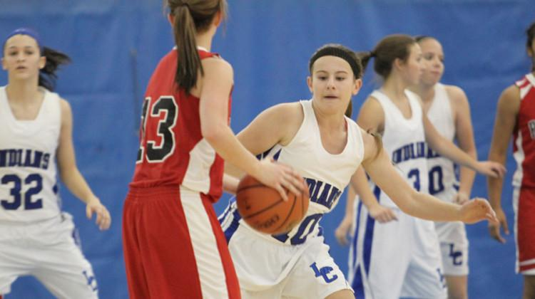 Alexis Miestowski (9) has her eye on the ball, waiting for any possible chance to steal it from the other team. The girls' next game was planned to be at Munster on Nov. 22 at 10 a.m.
