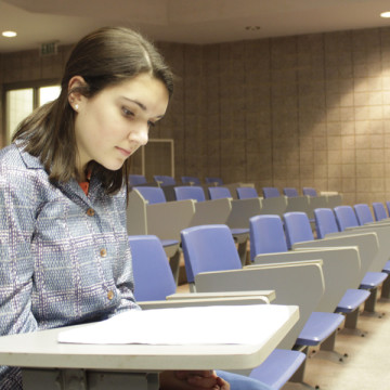 """Hannah Souronis (10) reviews her lines before rehearsal on Nov. 26. The contest show """"As You Like It"""" will compete in the regional competition at Purdue West Lafayette on Dec. 6."""