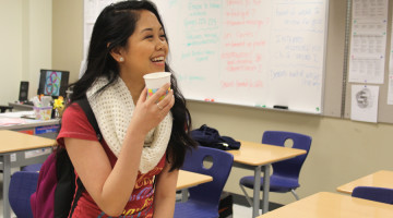 Dianne Cometa (10) enjoys her refreshments before the exam. The students were given refreshments before the test by both French teachers.