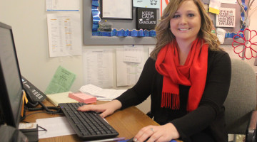 Ms. Ashley Kline, Guidance, sits at her desk in the Guidance Office that is located in the Freshman Center. Ms. Kline is the faculty sponsor for the club Dollars for Scholars at LC.