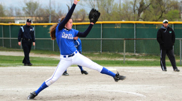 Alexa Pinarski (9) begins the game for Lake Central with powerful pitches.  The forceful plays prevented Valparaiso from scoring much throughout the game.