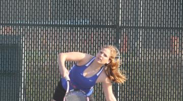 Emily Birlson (12) returns the ball to her Hanover opponent. Birlson and her partner, Nanveet Kaur (12),  played no. 1 varsity doubles.