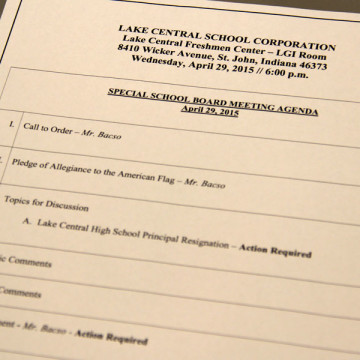 The agenda is addressed at a special School Board meeting on April 29. Mr. Robin Tobias resigned from his position as principal after being on paid administrative leave.