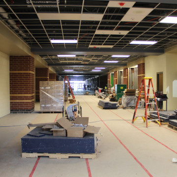 The floors and doors have been installed in the new building.