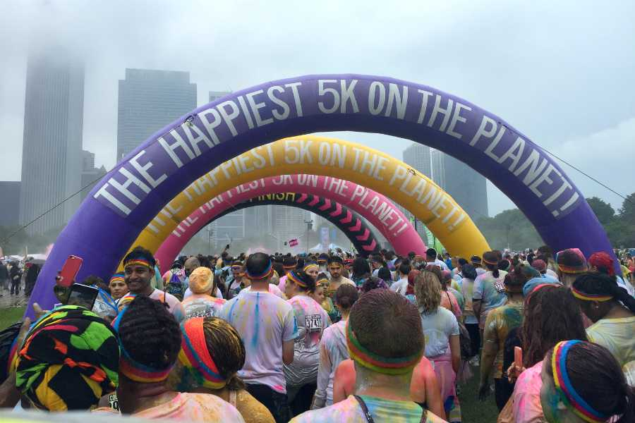 "At the finish line, four inflatable arches stand marking the end of the race. The Color Run was nicknamed ""The Happiest 5K on the Planet."""