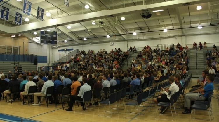 Athletes and parents sit in the gymnasium to see the spring sports award ceremony. Coaches from each sport spoke about their team's accomplishments.