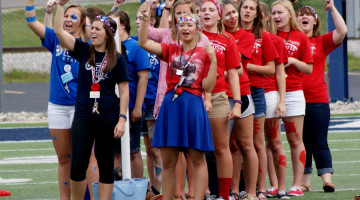 One of the numerous cities at Hoosier Girls' State cheers before the flag retreat on Wednesday, June 24. Flag raising and retreat was a vital part of the program, as all delegates were required to attend.