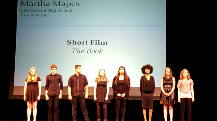 "Martha Mapes (12), far right, stands with all of the thespians featured in the National Individual Event Showcase. Her short film, titled ""The Book,"" was named the best in the nation. Photo submitted by Mr. Ray Palasz, English."