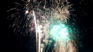 Colorful fireworks dance through the sky as the finale unfolds.  This year's firework show at Rohrman Park was as successful as it has been in years past.