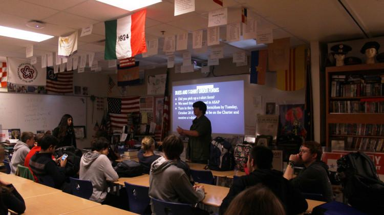 William Morris (11) conducts the History Club meeting. Morris talked about the upcoming Smoothie King Fundraiser.