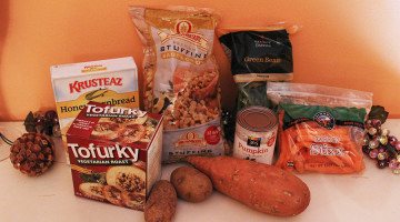 Vegetarian food options sit on display. Fresh vegetables, stuffing mix, pumpkin pie mix and Tofurky sat as options for a Thanksgiving meal.