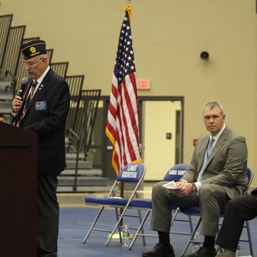 Marty Dzieglowicz, POW/MIA speaker, addresses the audience. Shortly after the ceremony, U.S. Congressman Pete Visclosky spoke.