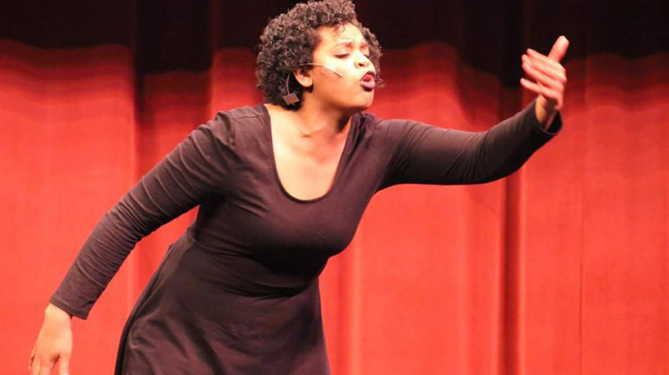 """Raquel Rembert (12) performs a monologue from the play """"The Piano Lesson."""" Rembert won Best of Show for individual monologue at the Indiana Thespians State Conference and was given the opportunity to perform at the conference's closing ceremony. Photo submitted by: Raquel Rembert"""