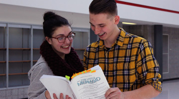 "William Kruzan (11) practices lines for ""The Little Mermaid"" with Hannah Souronis (11). Kruzan will play Prince Eric and Souronis will play Ariel in the spring musical starting March 4."
