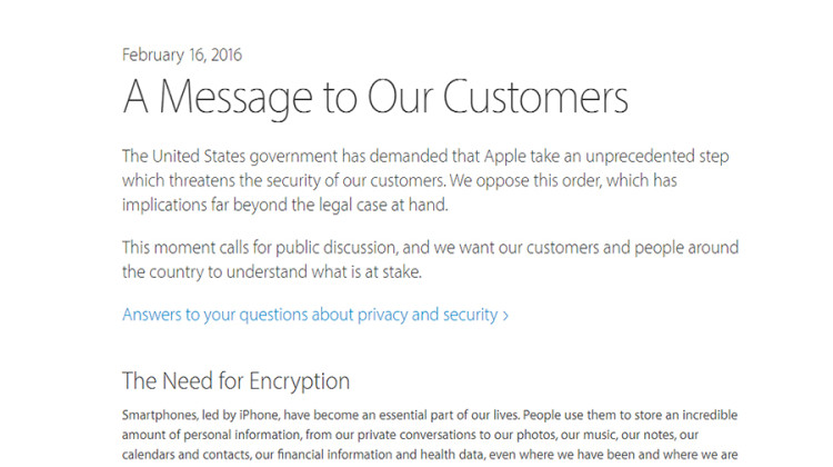 On Feb. 16, Apple's Chief Executive Officer Tim Cook wrote a letter to the customers of Apple explaining the security concerns of the public. Apple decided to not comply with the FBI's requests to search the public's data on a general scale. The letter can be found at http://www.apple.com/customer-letter/.