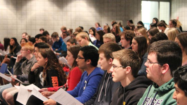 Students listen to those running for office positions in National Honor Society give speeches. People ran for president, vice president, treasurer and secretary.