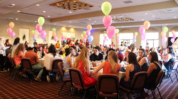 Balloons decorate the tables at Villa Cesare. Senior Banquet was held on Friday,  April 15.