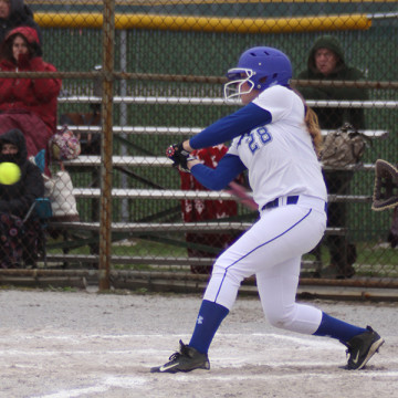 Kayla Carson (9) hits the ball. The game took place at home on April 26 at 4:30 p.m.