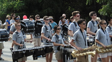 The drumline keeps time as they perform.The marching band had their first summer practice on June 7.