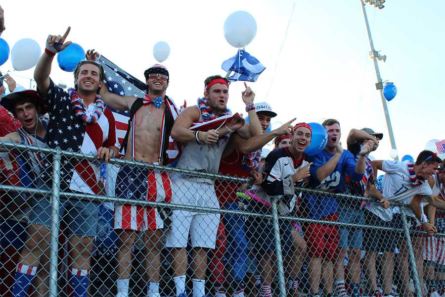 Lake Central's student section cheers on the team. The theme was USA night.