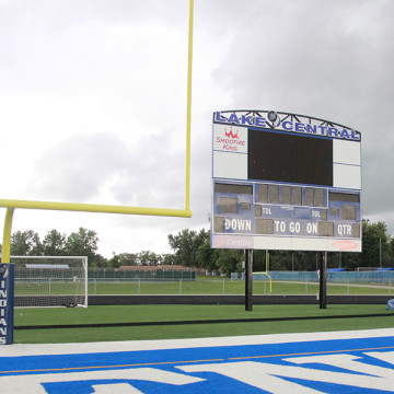 Lake Central High School's new video board is attached to the top of the original score board. The video board will be used for previously loaded animations and videos.
