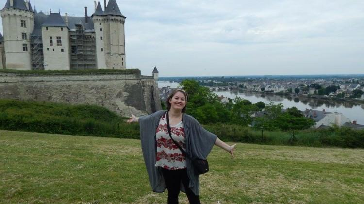 Nadia Magnabosco (12) poses in front of the Castle of Saumur. Magnabosco was in France for over a month.