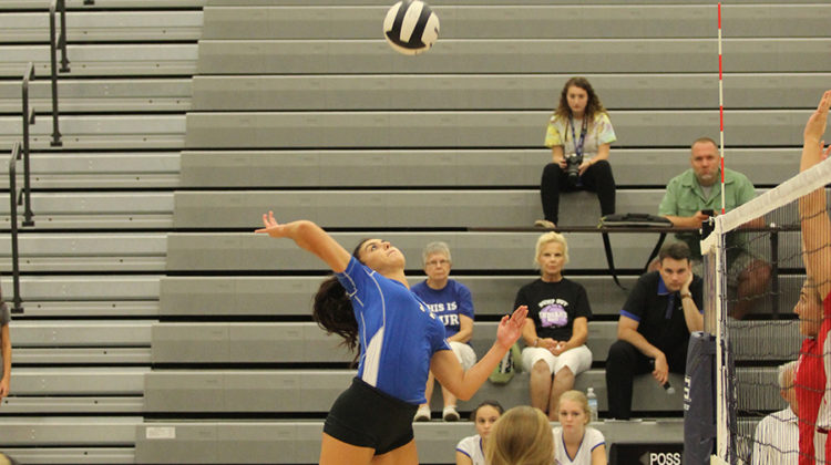 Linda Morton (12) spikes the ball.  Her skills gained LC one point.