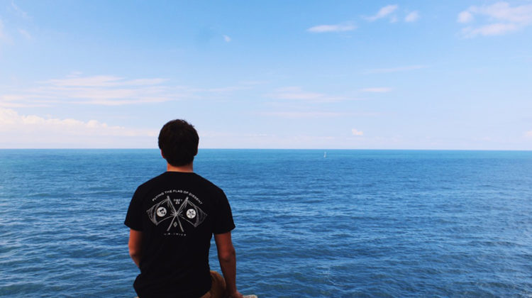 Joshua Klocek (11) looks over ledge in Cinque Terre, Italy. He spent his summer traveling throughout Europe. Photo submitted by Joshua Klocek.