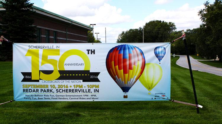 People are in a celebrating spirit for the 150th anniversary of Schererville. Many signs lined the street on the way to Redar Park.