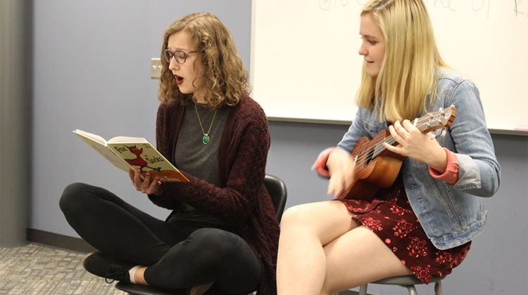 Sophia Boeckstiegel (11) and Isabella Gomez (12) brought an interesting new scene to the club. With ukulele accompaniment by Gomez, Boeckstiegel read a children's book to the lively beat.