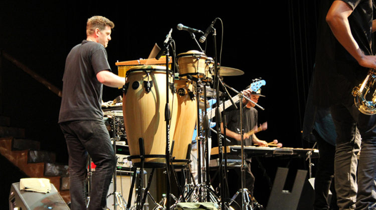 Drummer Nate Werth focuses on the music.  Nate has won multiple Grammy awards.