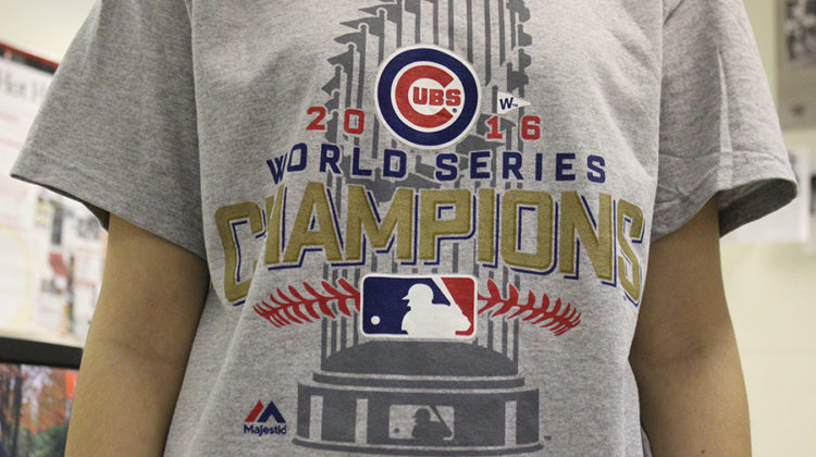 An official 2016 World Series shirt documents the Cub's win. The Chicago Cubs are celebrating their first World Series win in over a century.