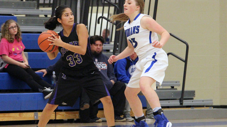 Brooke Czaja (9) guards her opponent during the third quarter. The defense only let Hobart score two points the entire game.