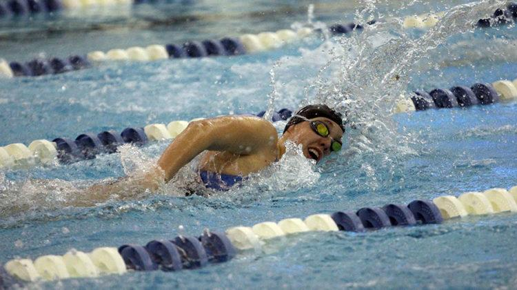 Jillian Murray (10) swims during the 200m freestyle relay. The girls lost to Valparaiso by four points.