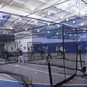The kids all hit while LC players who help throw to them. This was the first of three camps,  two camps remaining, on Feb. 18, and Feb. 25.