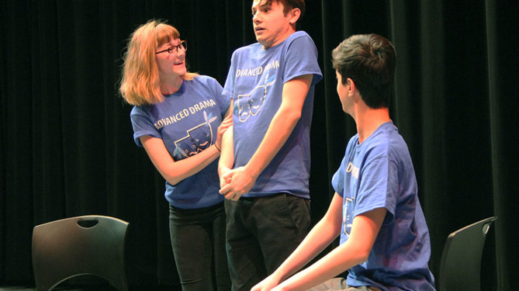 "Emily Badger (12), Aaron Cappello (11) and Benjamin Basem (11) act in the skit ""Vocal Lessons."" Badger was the overbearing mother of Cappello who was taking singing lessons with Basem."