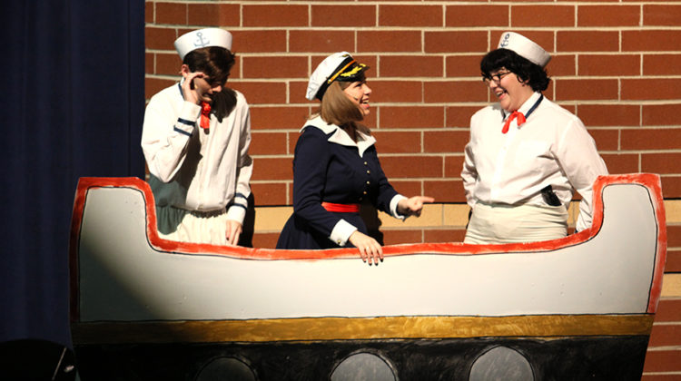 """Laila Wenrich (10), performs in """"James and the Giant Peach,"""" Lake Central Theatre Company's fall play. Wenrich played a sailor who spotted the flying peach.  Photo by: Sofia Hay (12)"""