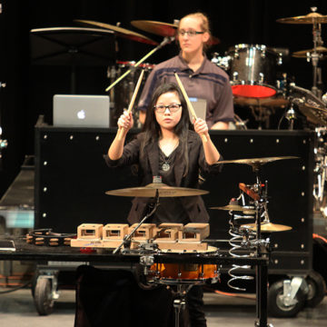 "Courtney Parkinson (10) performs with the Winter Percussion group. They played the song ""The Edge."""