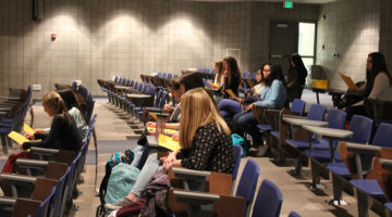N-Teens members listen to Mrs. Gabrielle Rapin, Science, discuss future volunteer opportunities. This meeting was held on March 22.